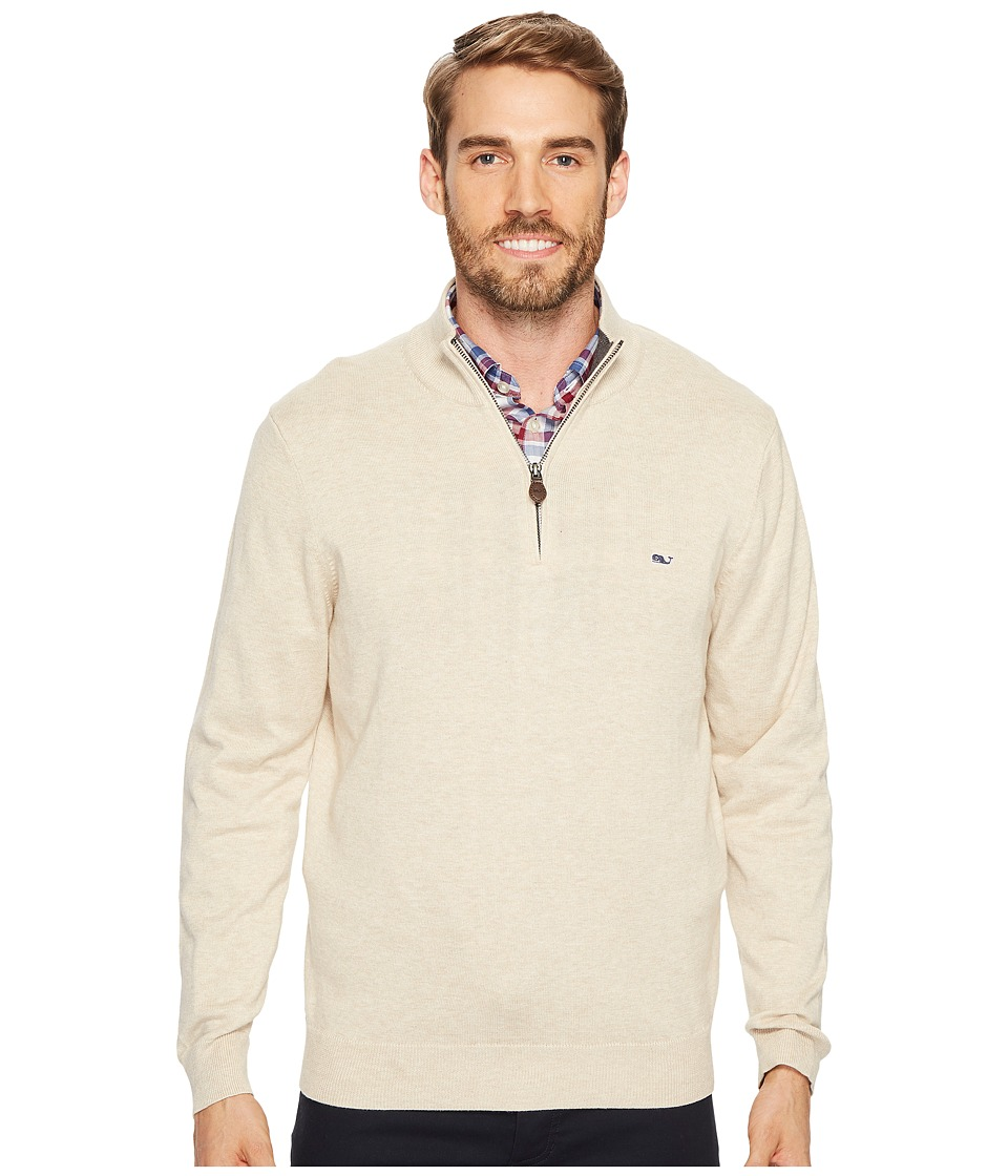 Vineyard Vines Cotton 1/4 Zip Sweater (Oatmeal Heather) Men