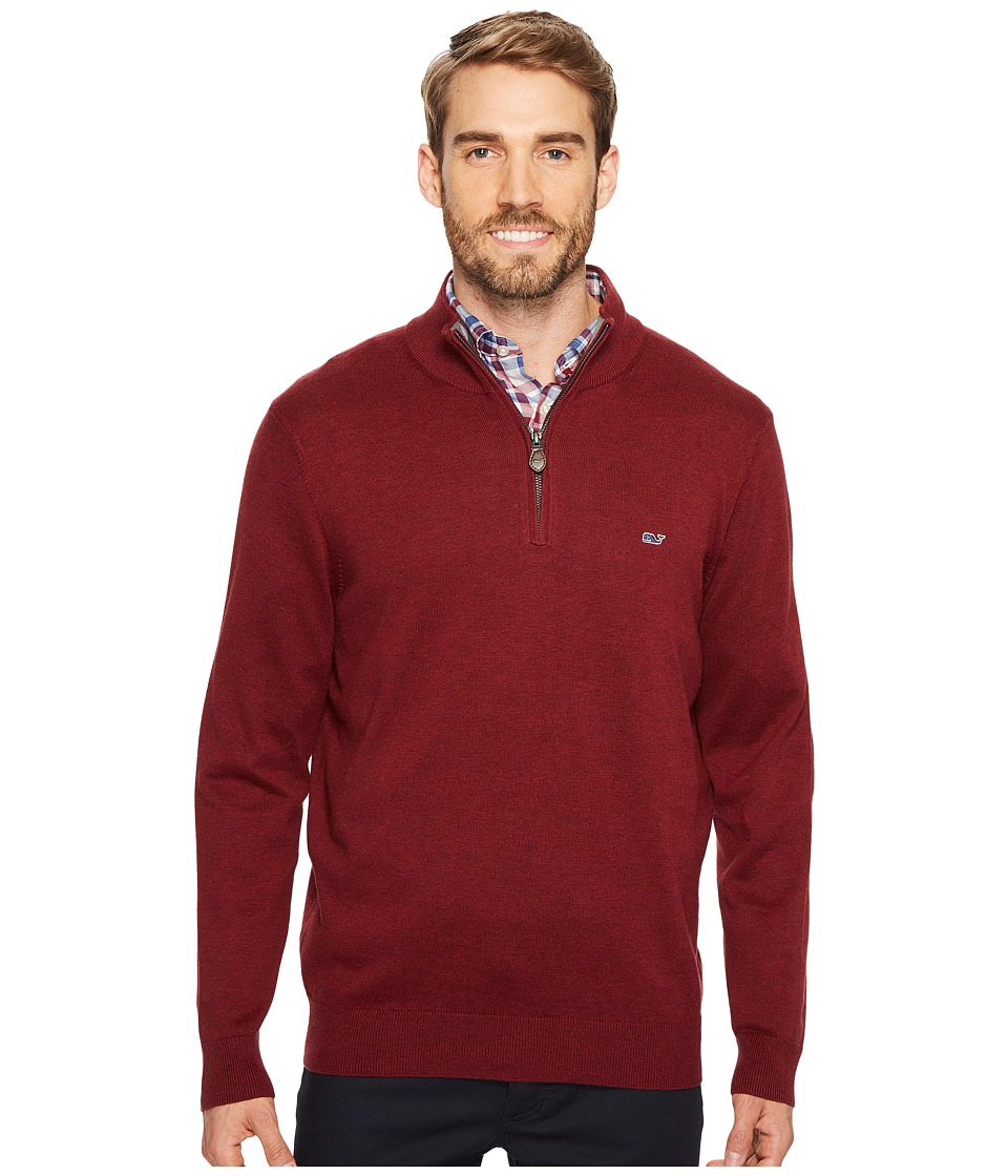 Vineyard Vines Cotton 1/4 Zip Sweater (Crimson) Men