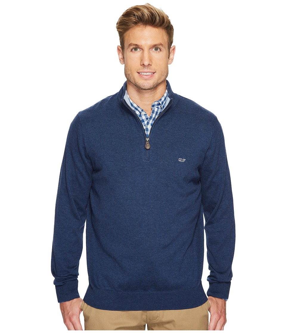 Vineyard Vines Cotton 1/4 Zip Sweater (Deep Bay) Men