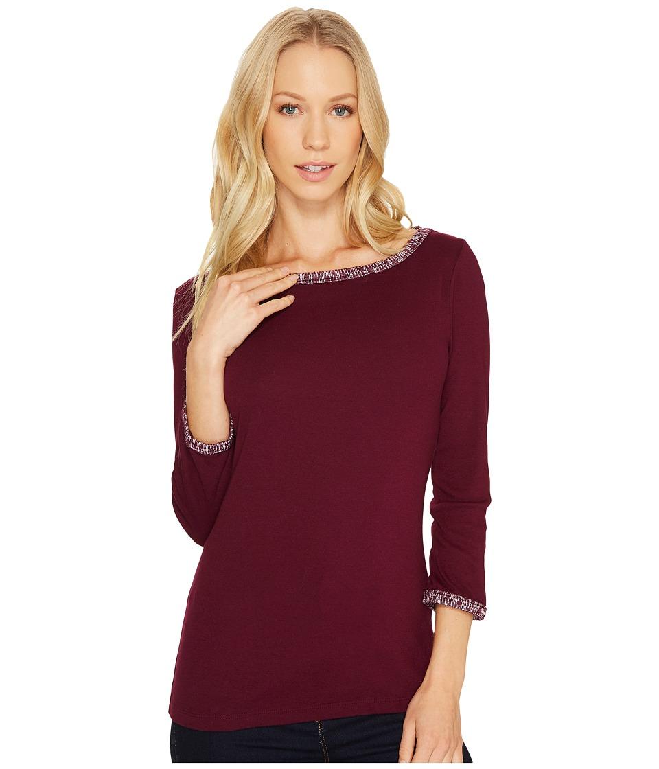 Three Dots Tweed Knit Ballerina Neck 3/4 (Boysenberry) Women