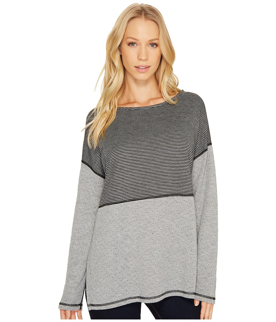 Three Dots - Reversible Stripe/Dot Long Sleeve Tee (Black) Women's T Shirt