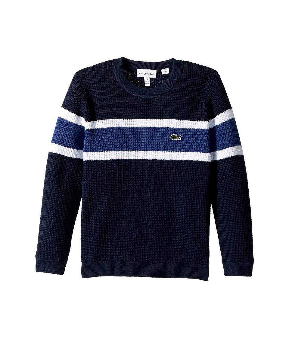 Lacoste Kids Long Sleeve Knit Striped Sweater (Toddler/Little Kids/Big Kids) (Navy Blue/White/Elysee Blue) Boy