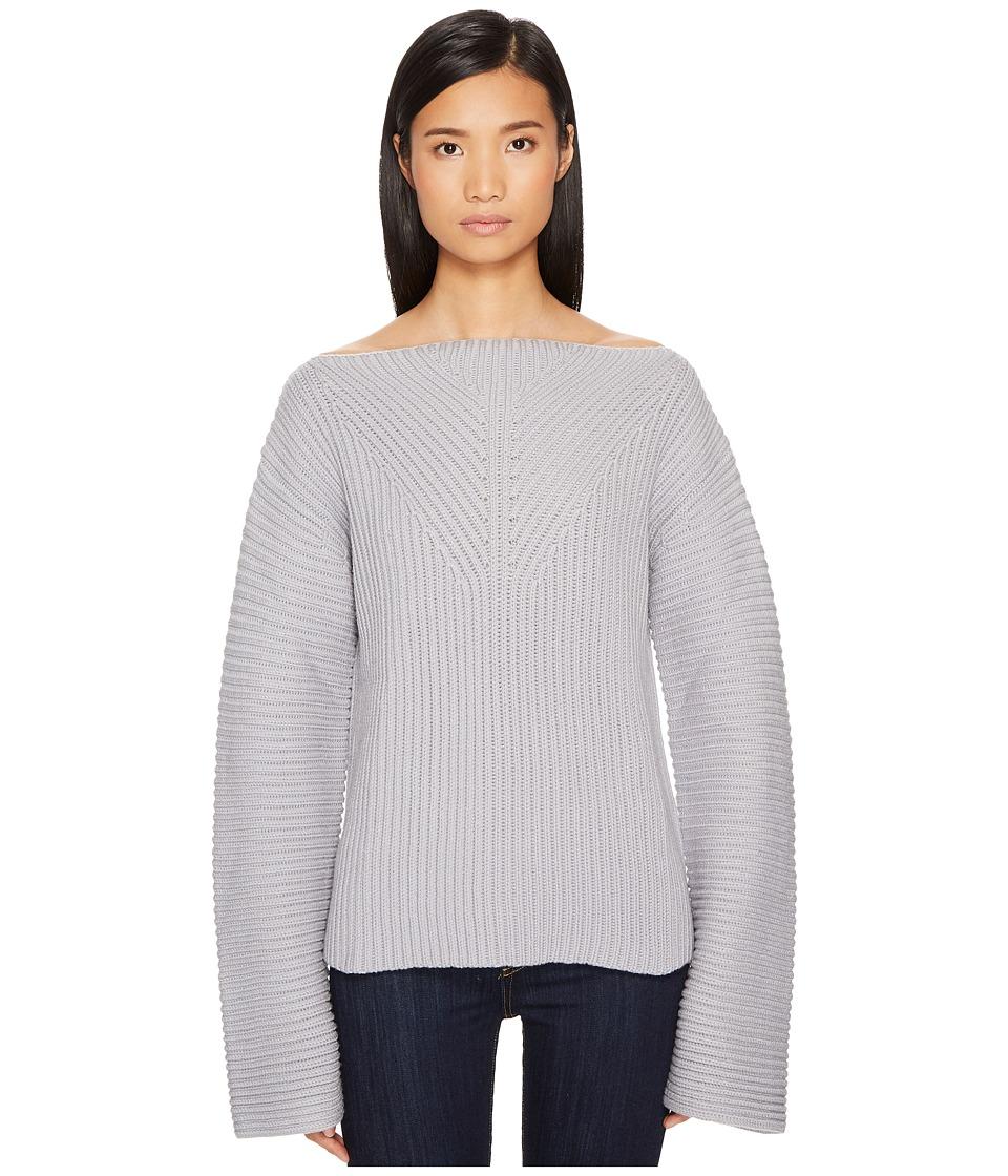 Jil Sander Navy Wool Boat Neck Long Sleeve Sweater (Silver/Grey) Women