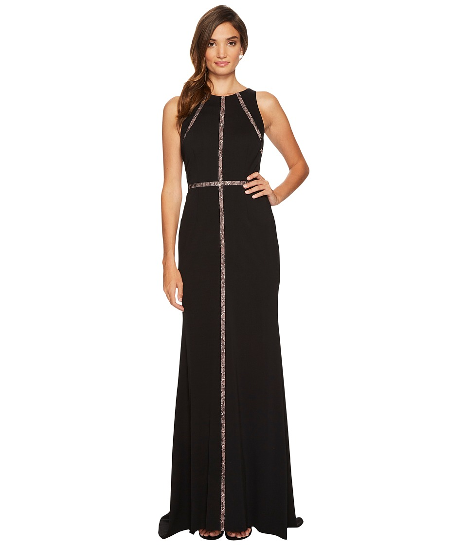 Adrianna Papell Sleeveless Jersey Halter Gown with Nude Lace Illusion Detail Black Dress