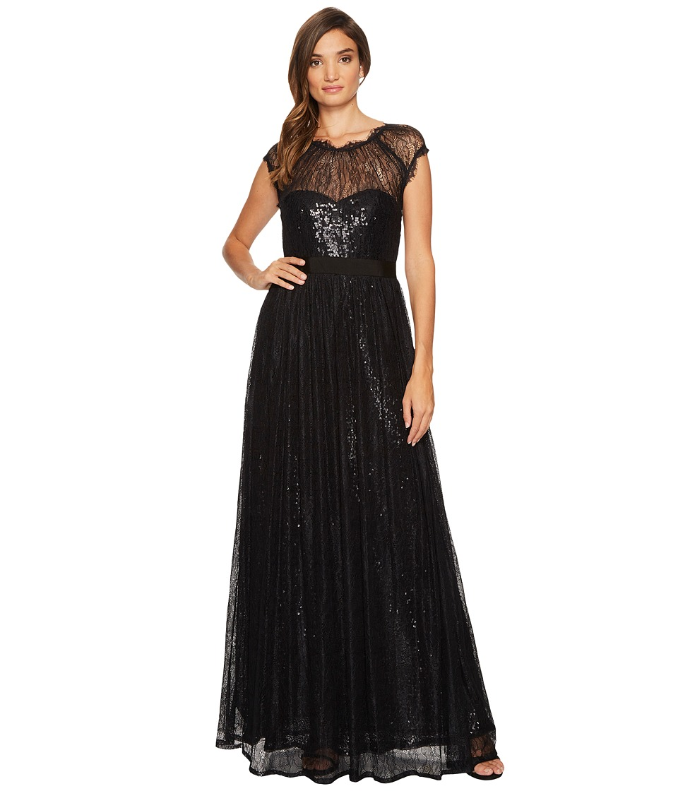 Adrianna Papell Long Sequin Gown with Chantilly Lace Overlay Black Dress