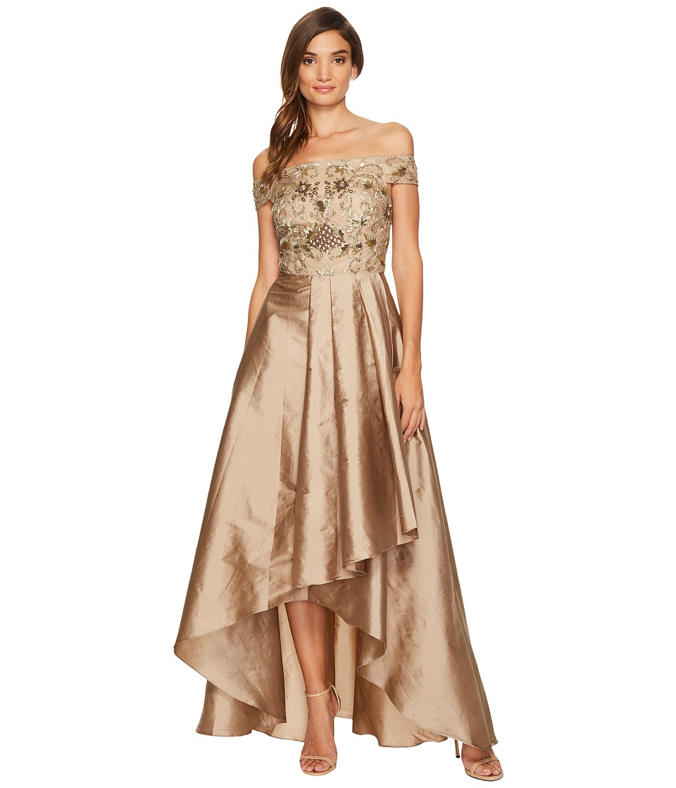 Adrianna Papell Beaded Off the Shoulder Gown with High-Low Taffetta Skirt (Antique Bronze) Women