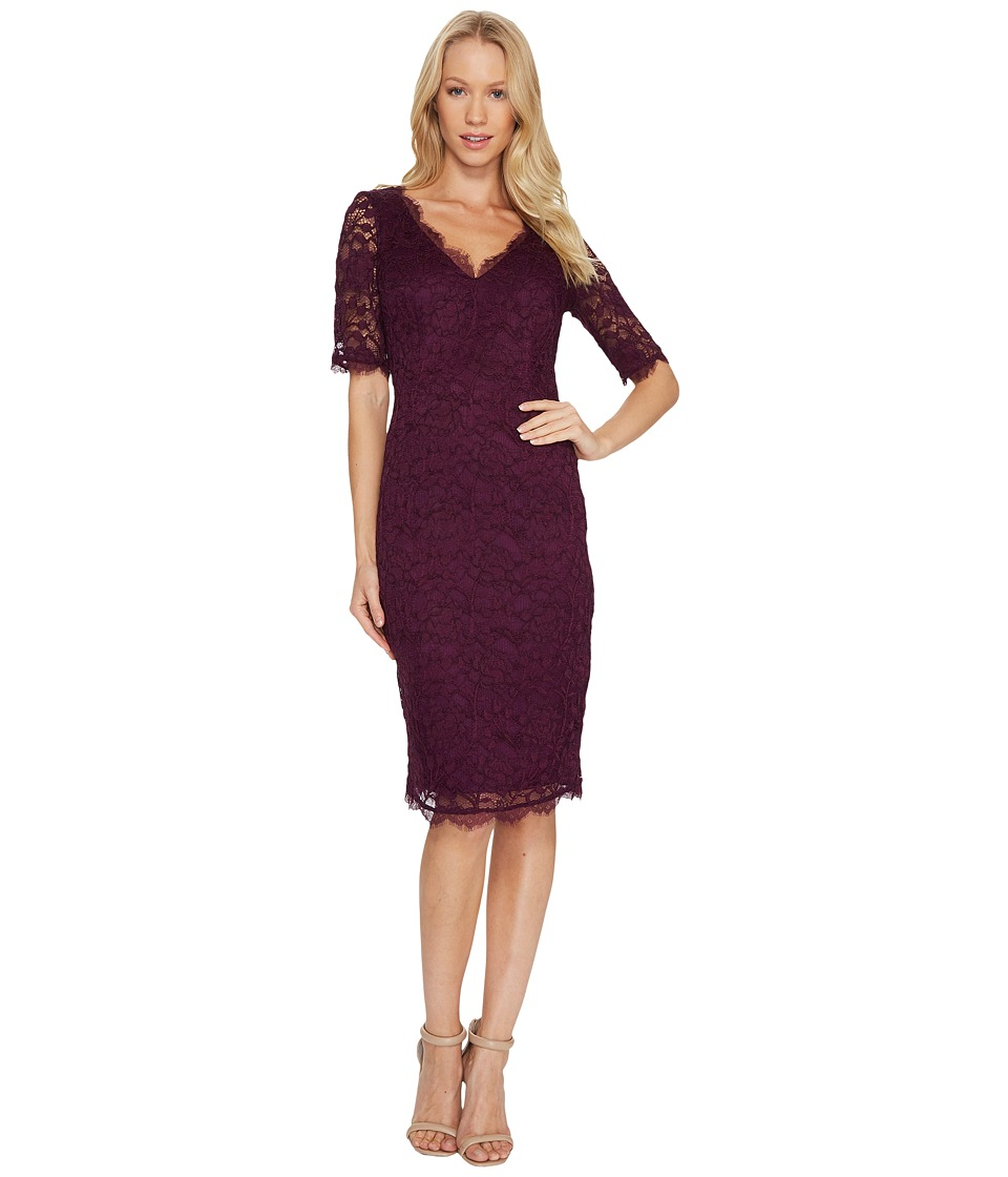 Image of Adrianna Papell - 3/4 Sleeve Lace Cocktail Dress with Scalloped V-Neck (Mulberry) Women's Dress