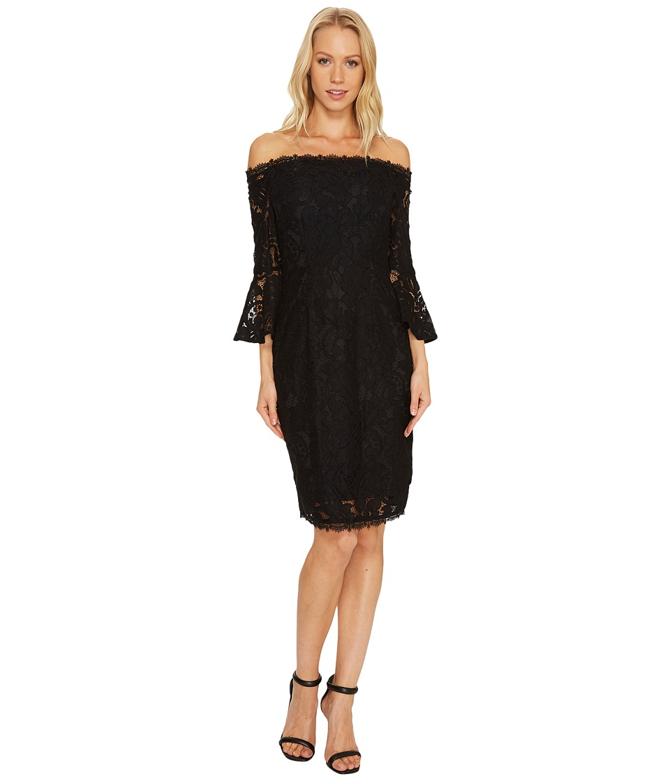 Adrianna Papell - Off the Shoulder Lace Sheath Dress with Flared Sleeve (Black) Women's Dress
