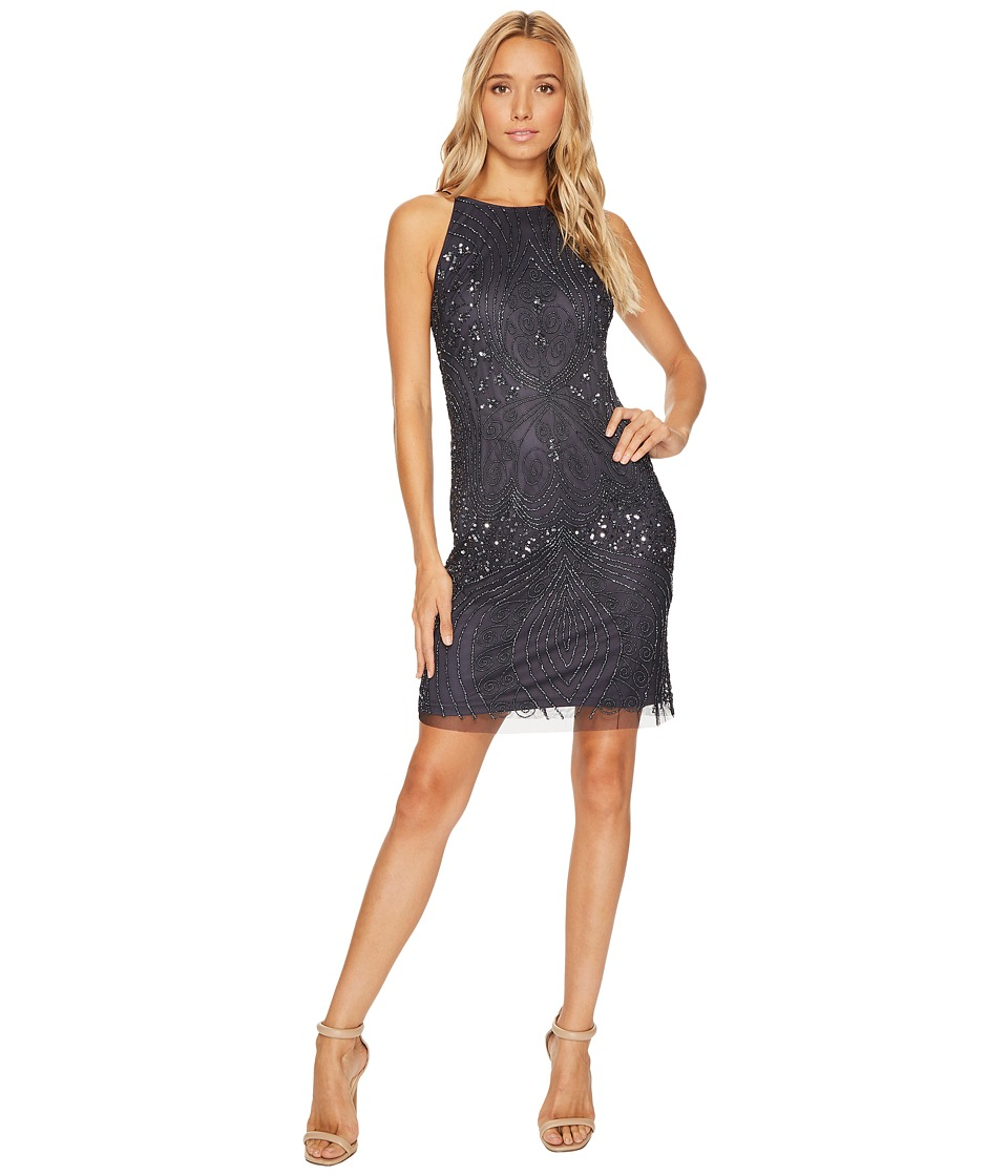 Adrianna Papell - Fully Beaded Sleeveless Halter Cocktail Dress (Charcoal) Women's Dress