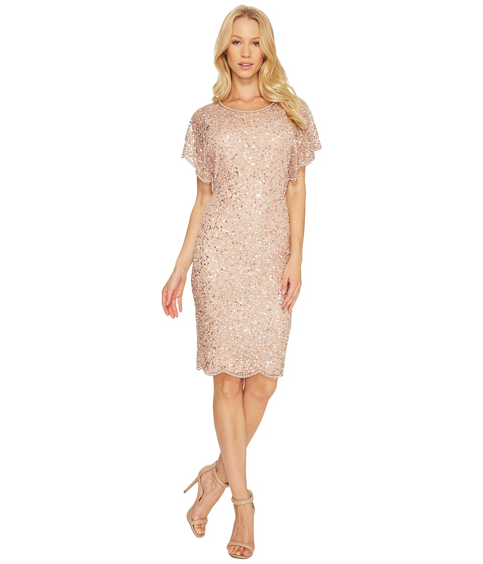 Adrianna Papell - Flutter Sleeve Beaded Cocktail Dress with Pearl Edge Detail (Rose Gold) Women's Dress