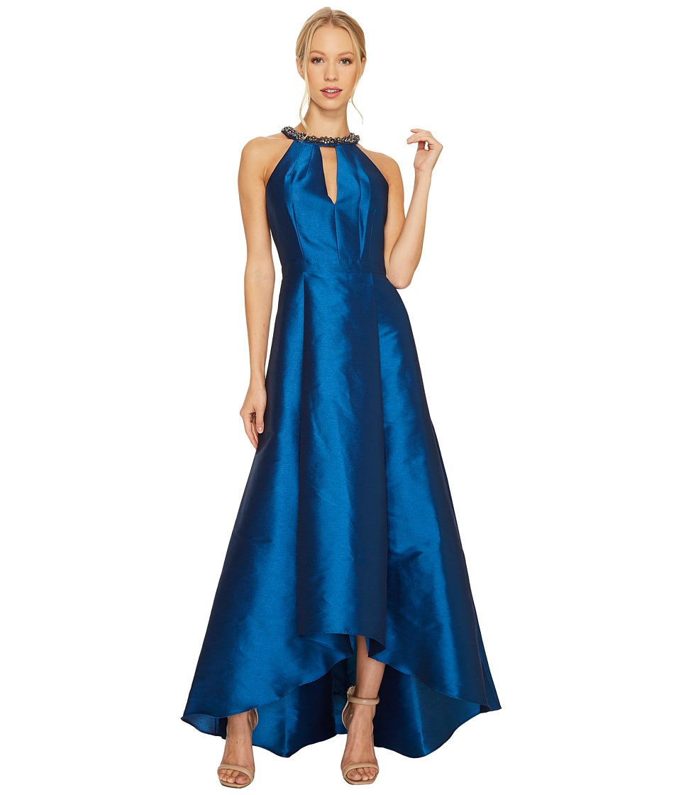 Adrianna Papell - Sleeveless Halter Gown with High-Low Hem and Beaded Necklace Detail (Peacock) Women's Dress