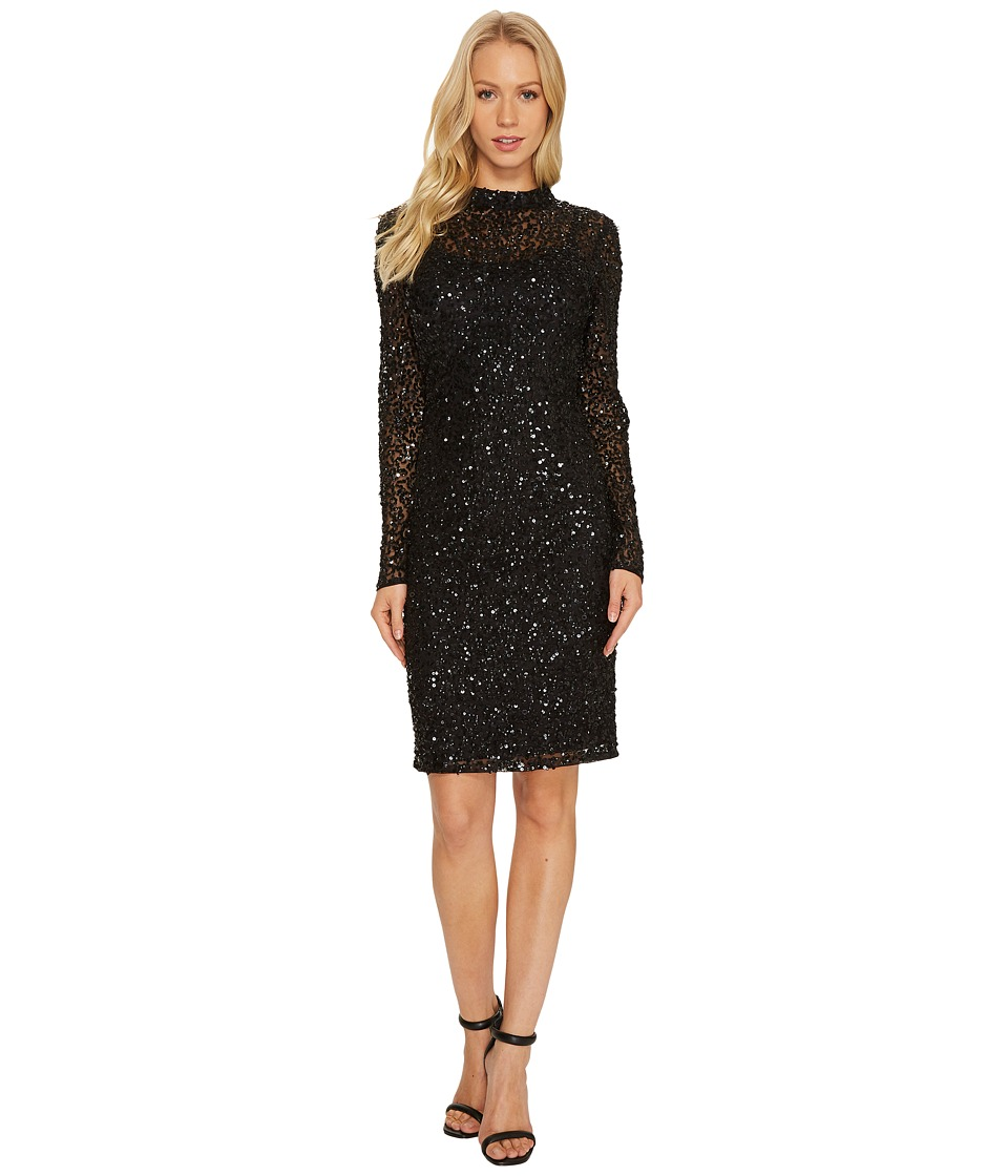 Adrianna Papell - Long Sleeve All Over Sequin Cocktail Dress with Mock Neck (Black) Women's Dress