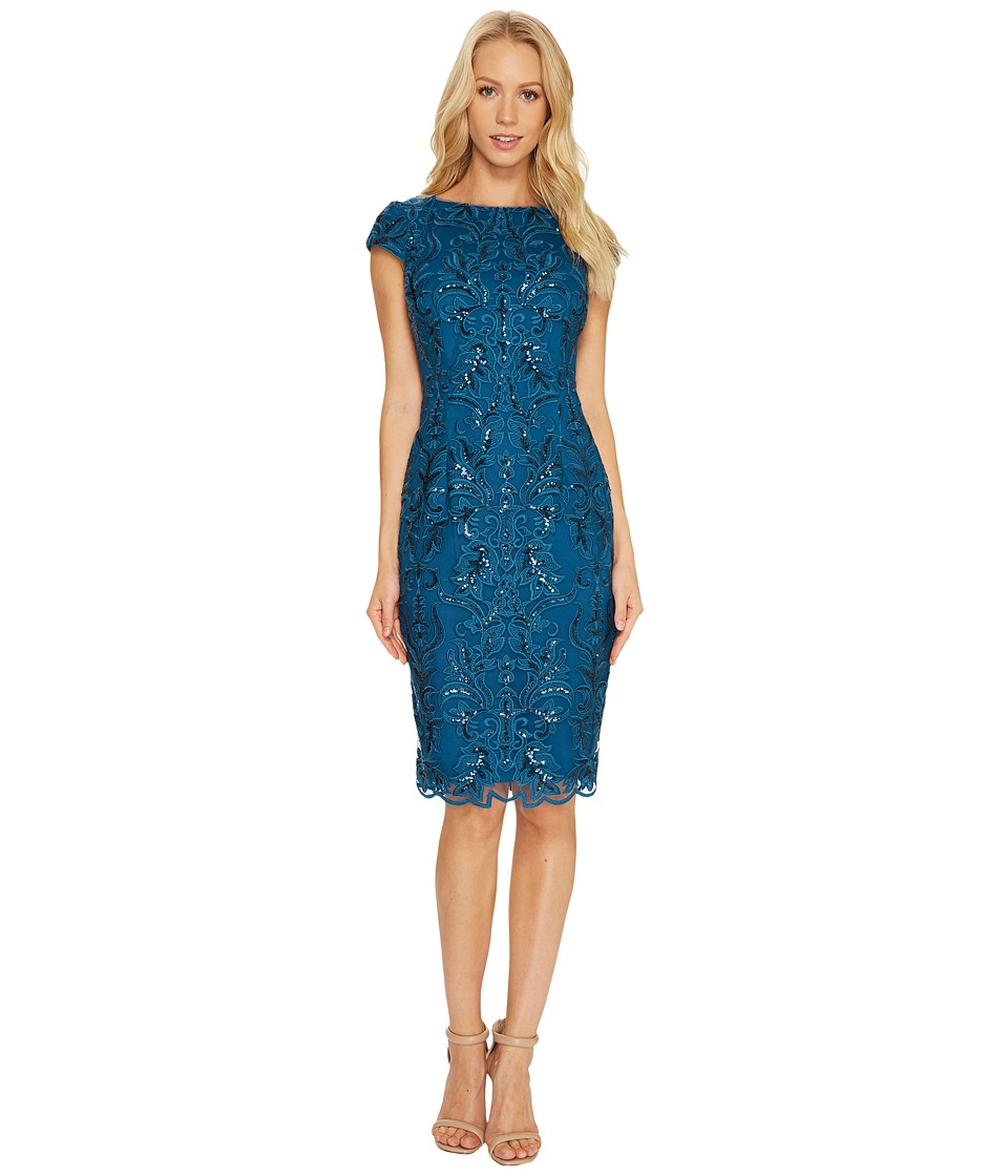 Adrianna Papell - Off the Shoulder Sequin Scroll Cocktail Dress (Evening Sky) Women's Dress