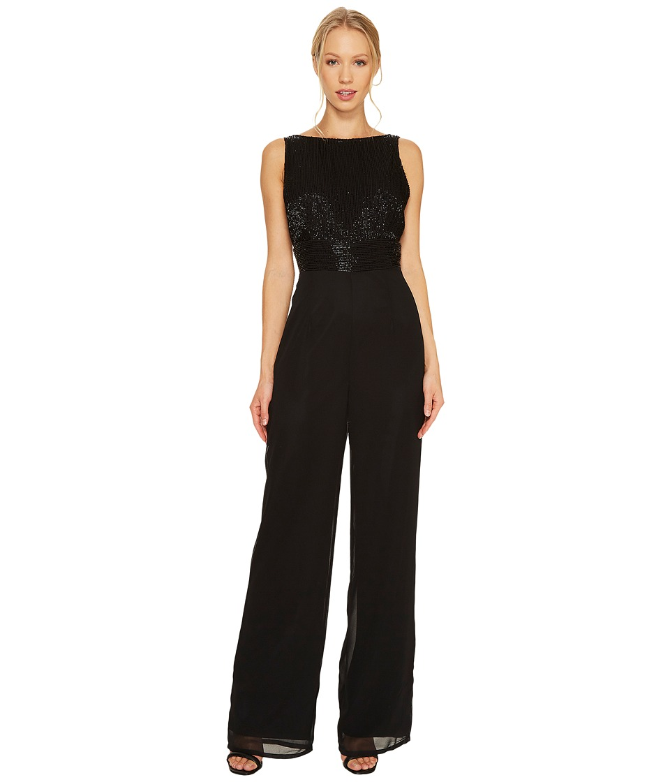 Adrianna Papell - Sleeveless Jumpsuit with Beaded Bodice (Black) Women's Jumpsuit & Rompers One Piece