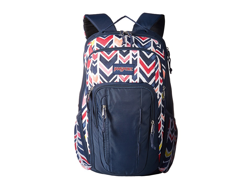 JanSport - Beacon (JS Navy Watercolor Chevron) Day Pack Bags