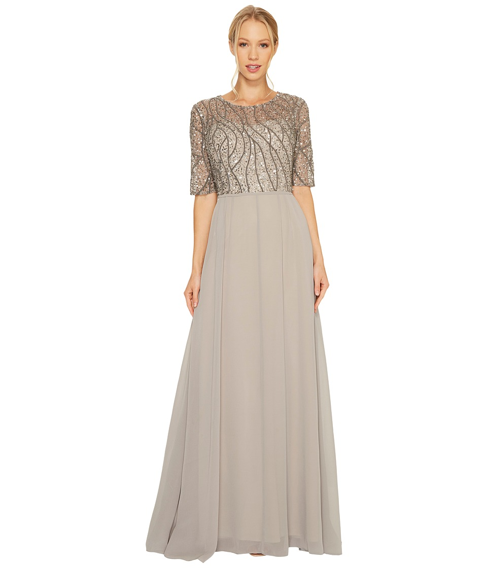 Adrianna Papell Short Sleeve Beaded Bodice Gown Platinum Dress