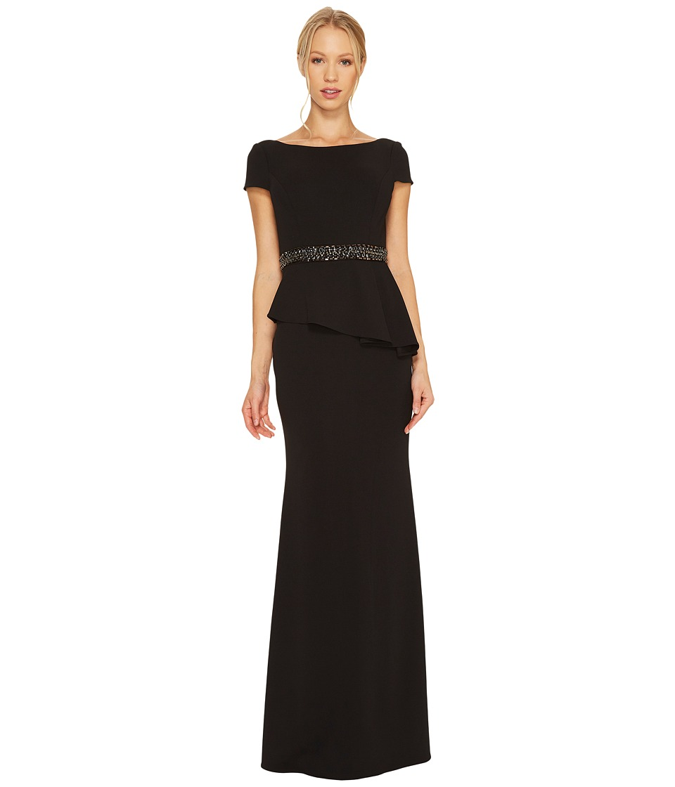 Adrianna Papell Short Sleeve Crepe Peplum Gown Black Dress
