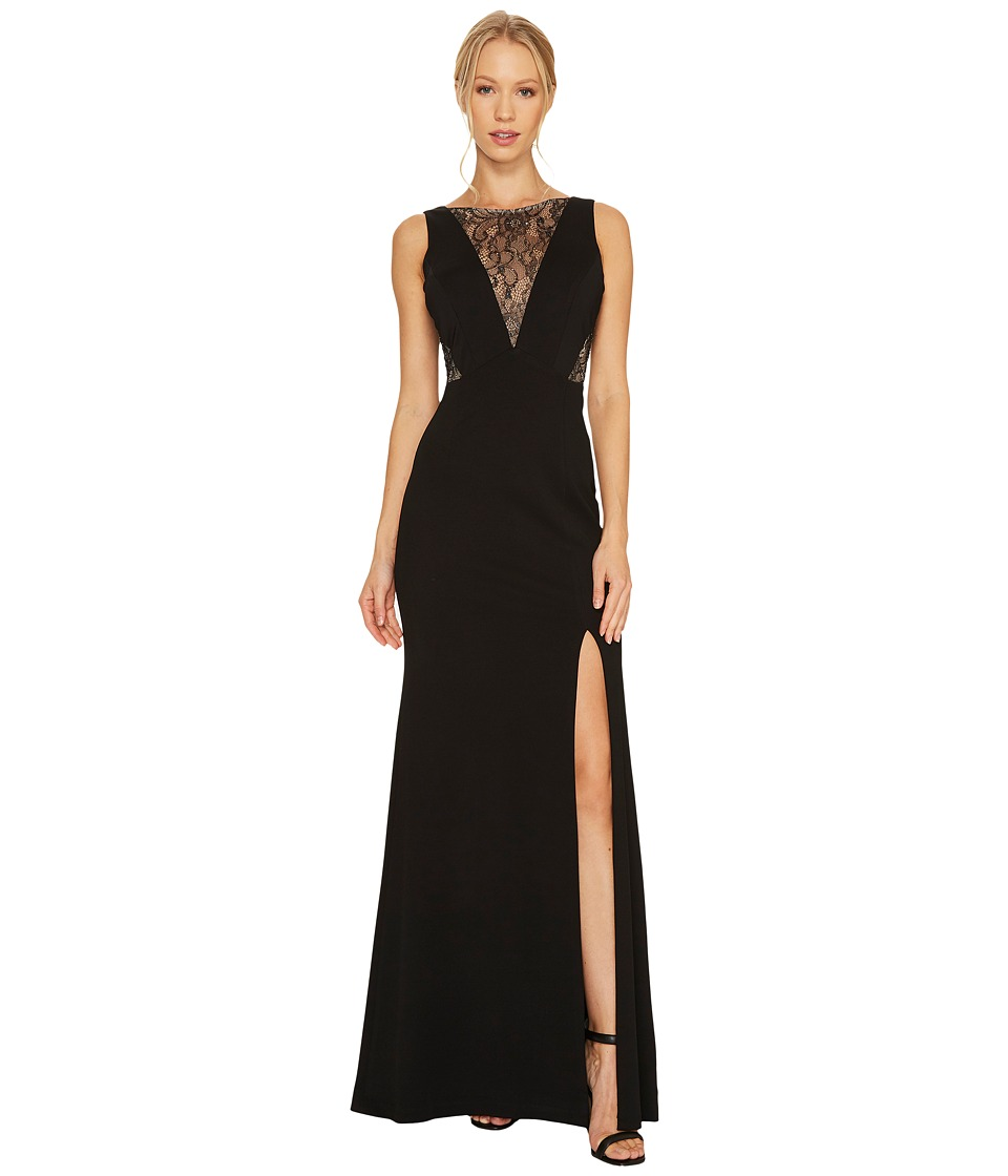 Adrianna Papell Jersey Mermaid Gown with Lace Insets Black Dress