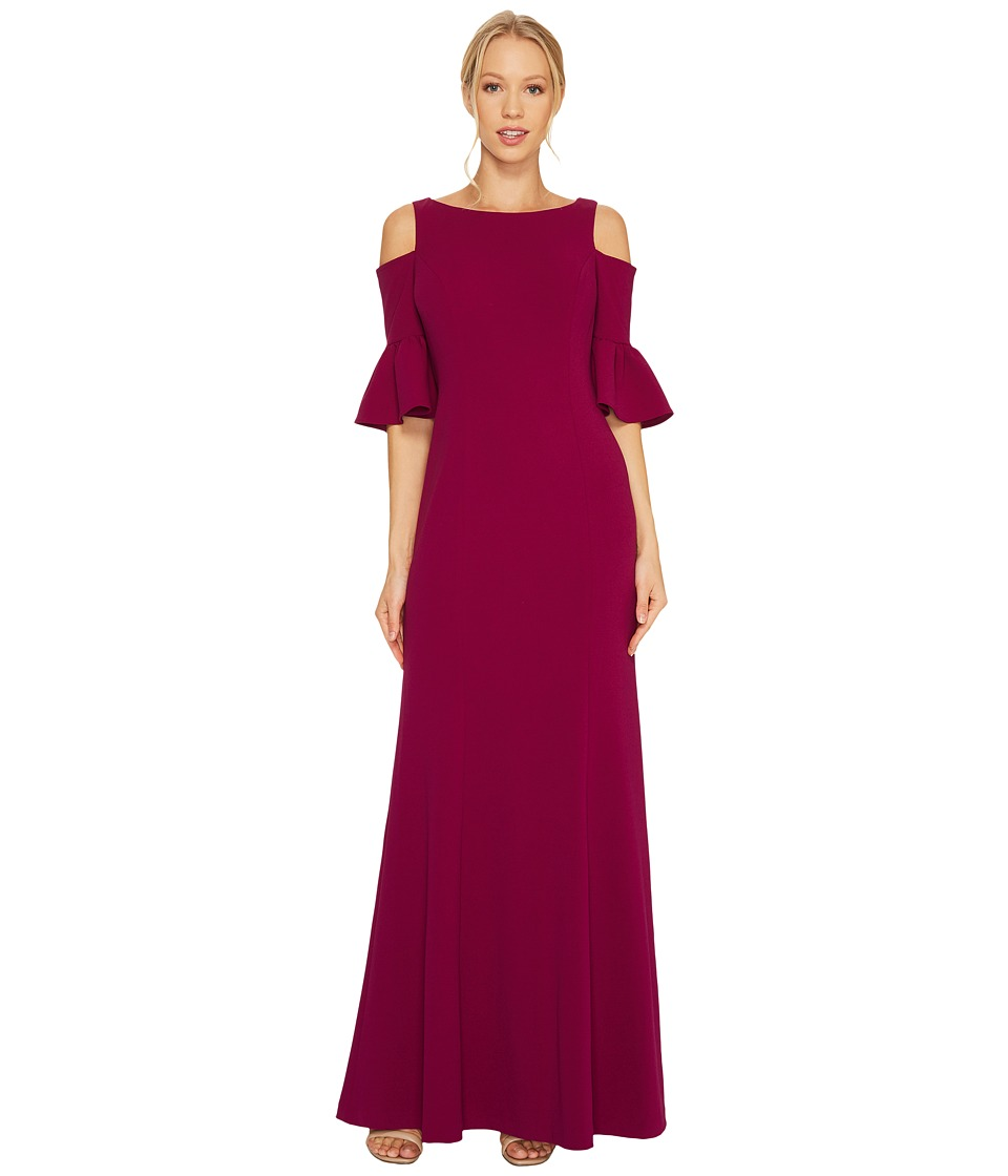 Adrianna Papell Long Sleeve Cold Shoulder Crepe Gown with Flutter Sleeve Detail Wildberry Dress
