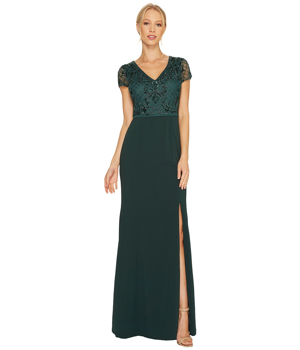 Adrianna Papell Short Sleeve V-Neck Gown with Jersey Skirt Dusty Emerald Dress