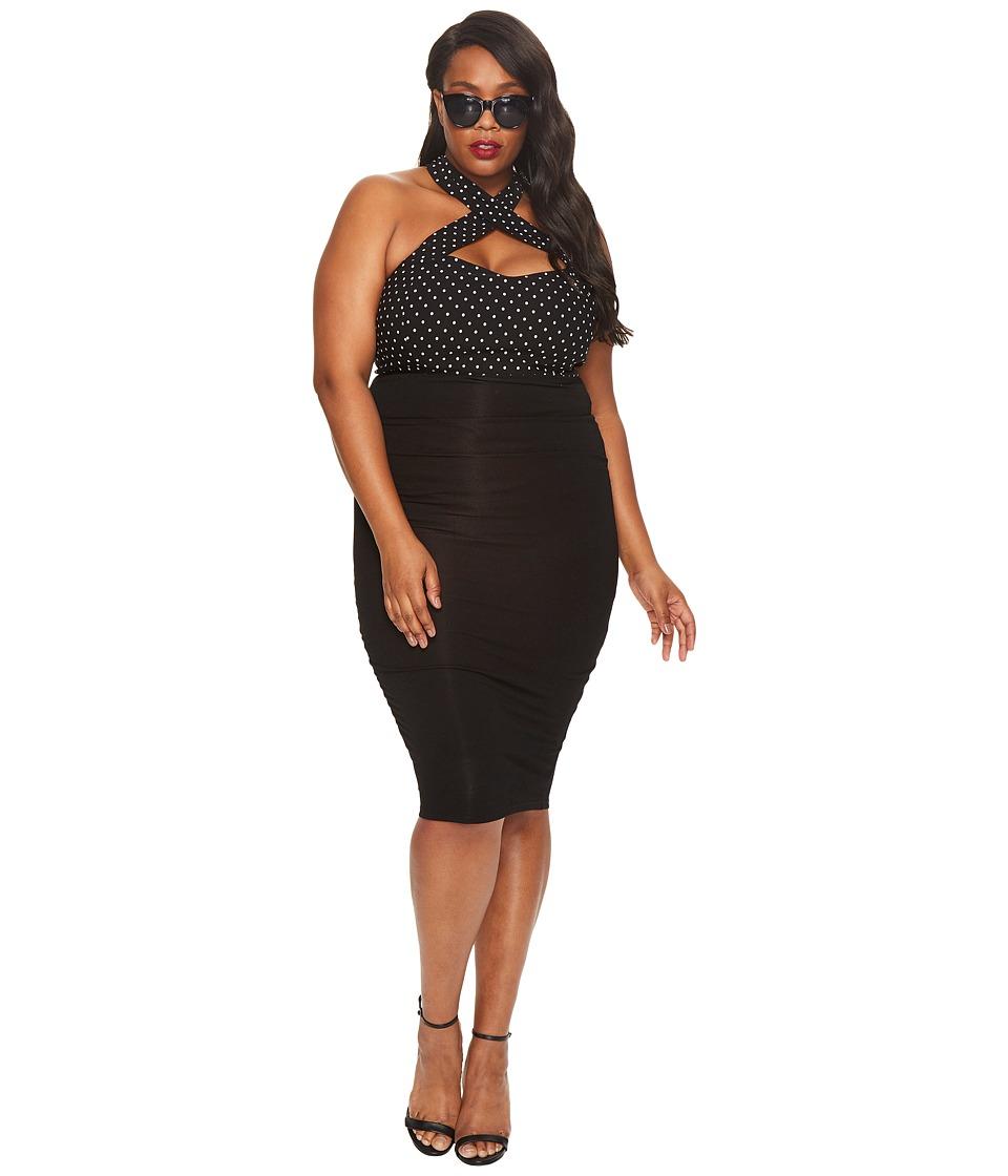 Unique Vintage Plus Size High-Waist Knit Pencil Skirt (Black) Women