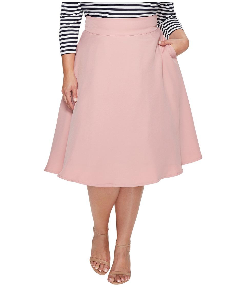 Unique Vintage - Plus Size Vivian Swing Skirt (Rose) Women's Skirt