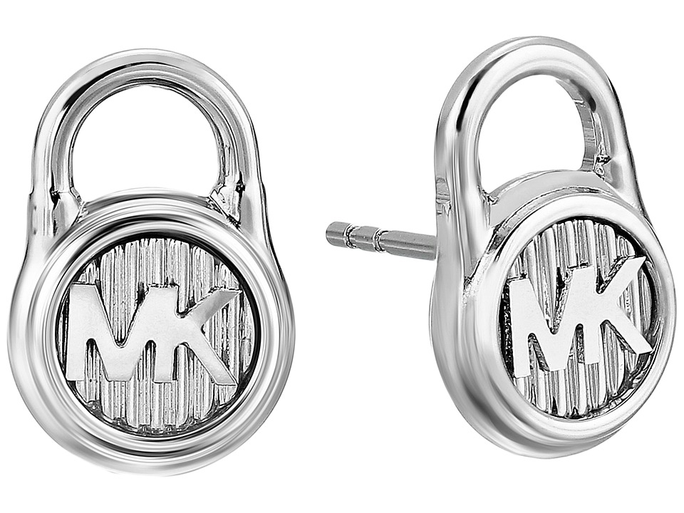 Michael Kors - Logo Lock Stud Earrings (Silver/Steel) Earring