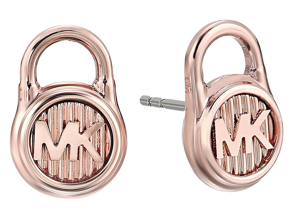 Michael Kors - Logo Lock Stud Earrings (Rose Gold 1) Earring