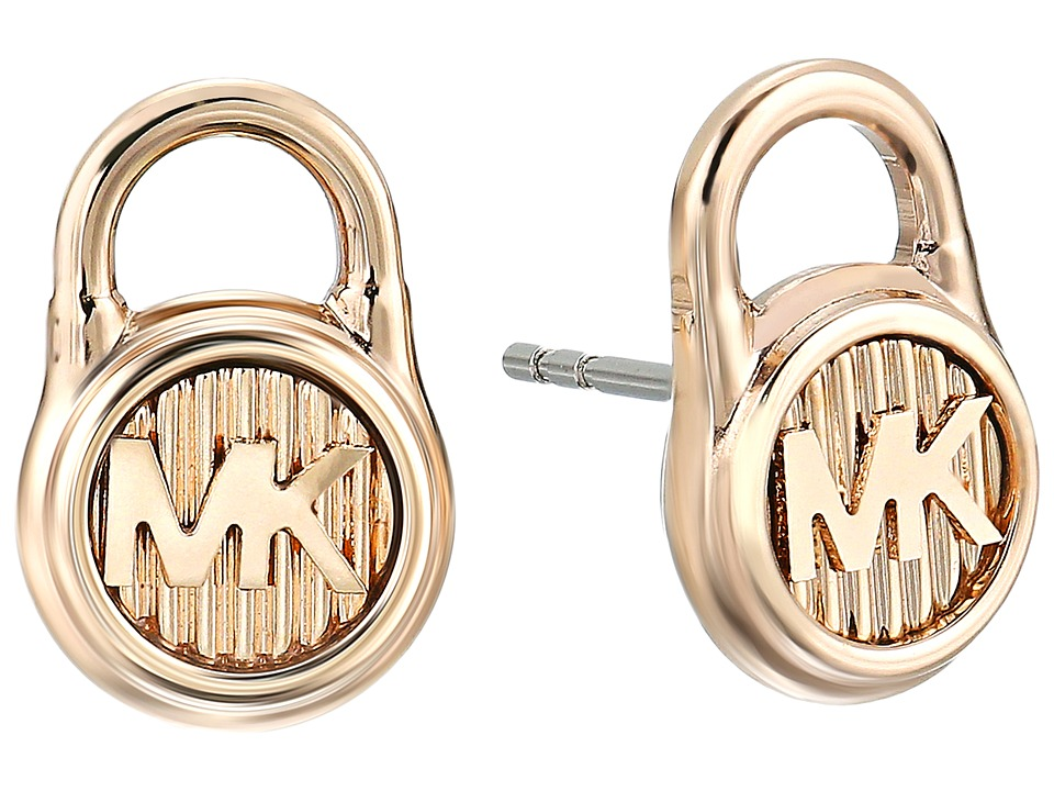 Michael Kors - Logo Lock Stud Earrings (Gold 2) Earring