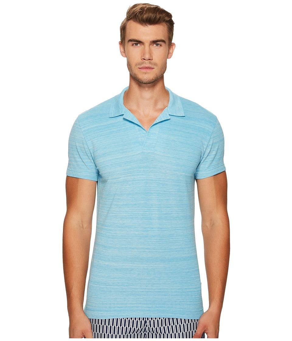 Orlebar Brown - Felix Polo (Blue Jay/Ecru) Men's Clothing