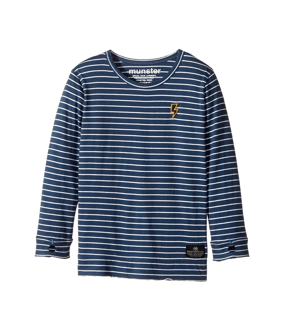 Munster Kids - Jaxson Jersey Long Sleeve Tee (Toddler/Little Kids) (Navy Stripe) Boy's Long Sleeve Pullover