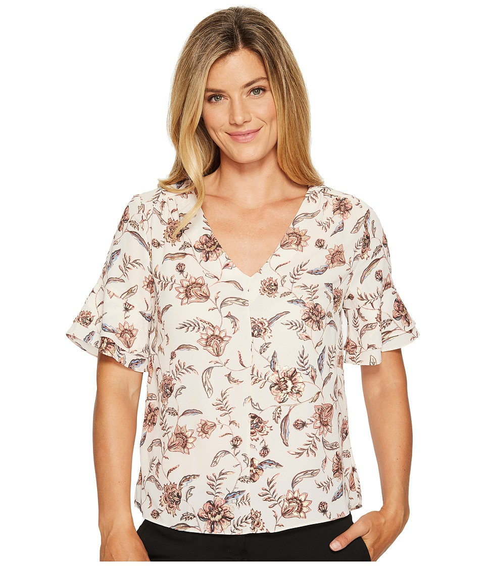 Ivanka Trump - Bell Sleeeve Floral Print with Metallic Thread (Natural/Blush) Women's Short Sleeve Pullover
