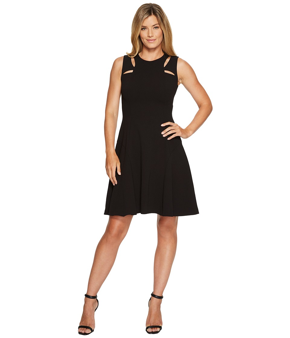 Ivanka Trump - Sleeveless Scuba Crepe Cut Out Dress (Black) Women's Dress