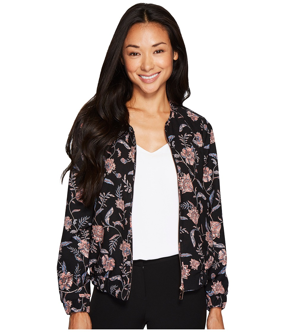 Ivanka Trump - Floral Printed Bomber Jacket (Black/Blush) Women's Coat