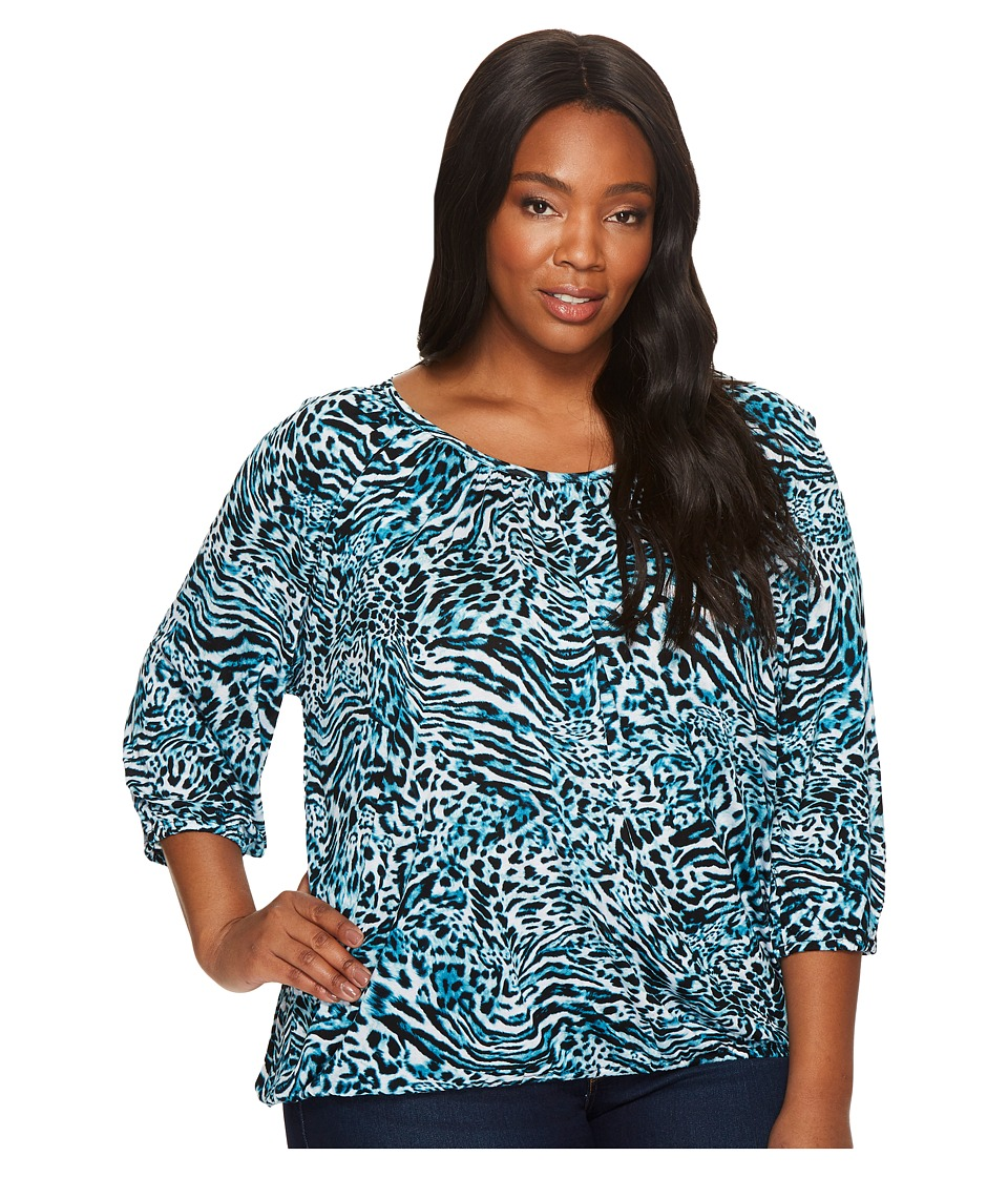 MICHAEL Michael Kors - Plus Size Big Cat Peasant Top (Dark Peacock) Women's Clothing
