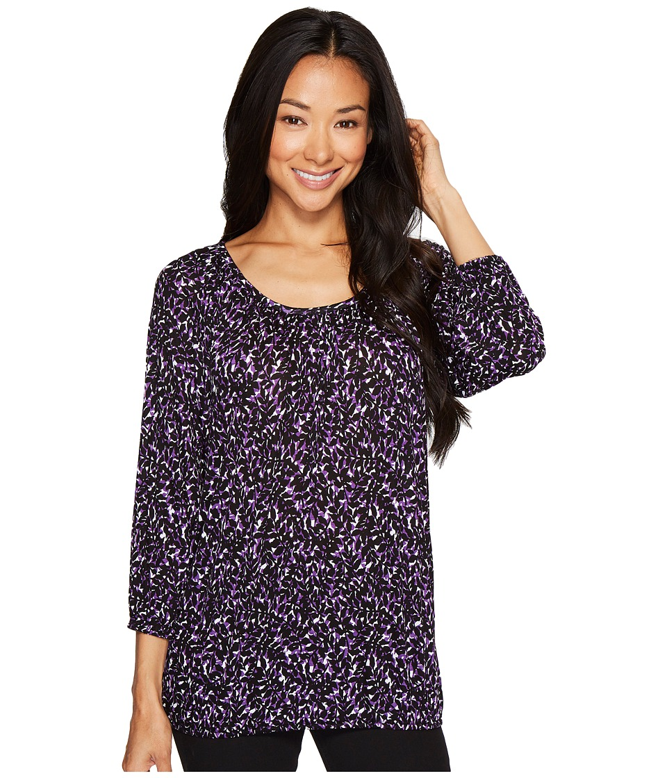 MICHAEL Michael Kors - Leaf Print Peasant Top (Violet Glaze) Women's Clothing