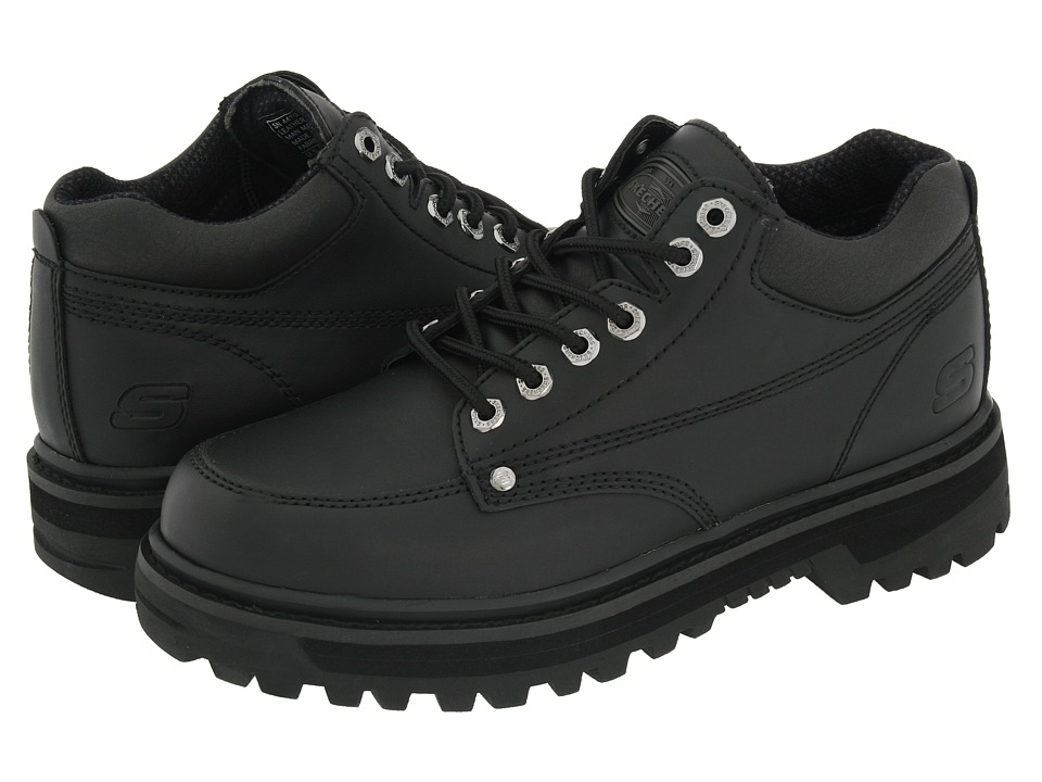 SKECHERS - Mariner (Black Oily Leather) Men's Lace up casual Shoes