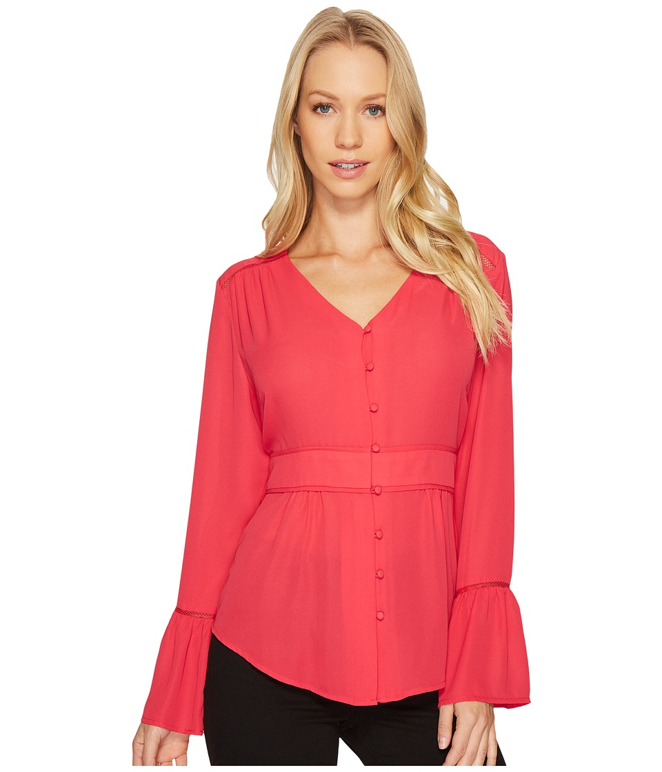 Ivanka Trump - Long Sleeve Button Blouse (Rose) Women's Blouse