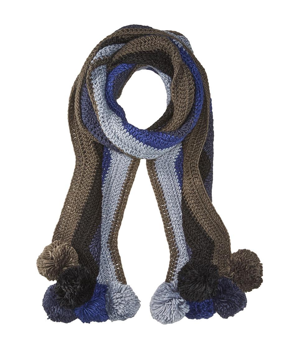 Image of BCBGMAXAZRIA - Crochet Stripe Pom Muffler (Dark Navy) Scarves
