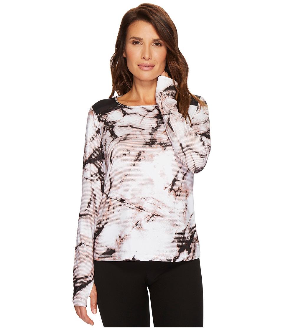 Ivanka Trump Knit Printed Shoulder Colorblock Top (Ivory/Black/Multi) Women