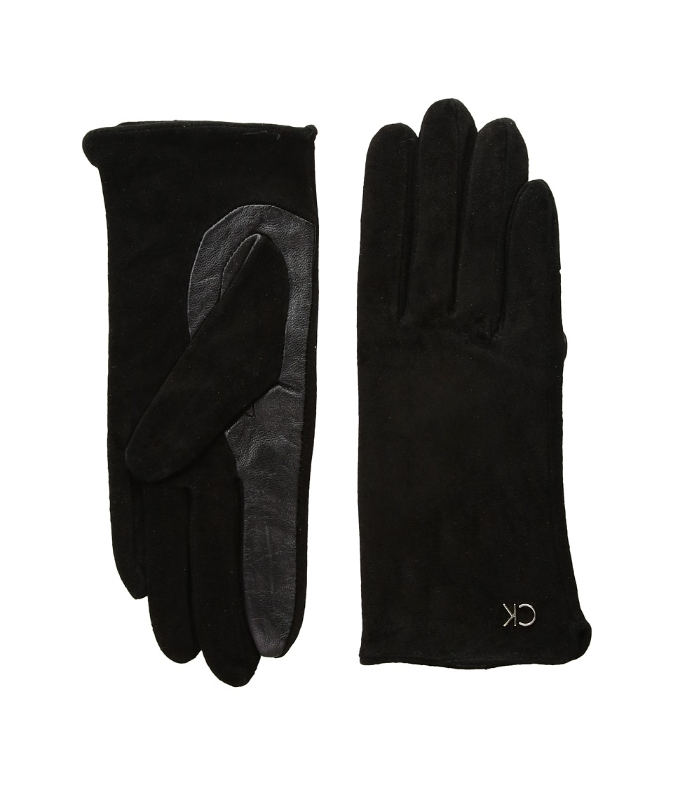 Calvin Klein Basic Suede/Leather Mix Gloves (Black) Extreme Cold Weather Gloves