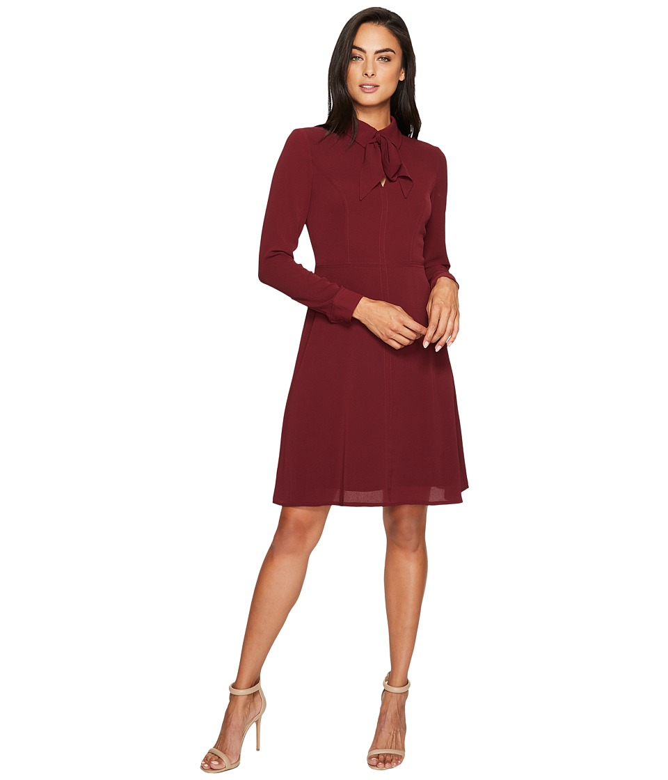 Maggy London - Catalina Crepe Fit and Flare with Tie Neck (Wine) Women's Dress