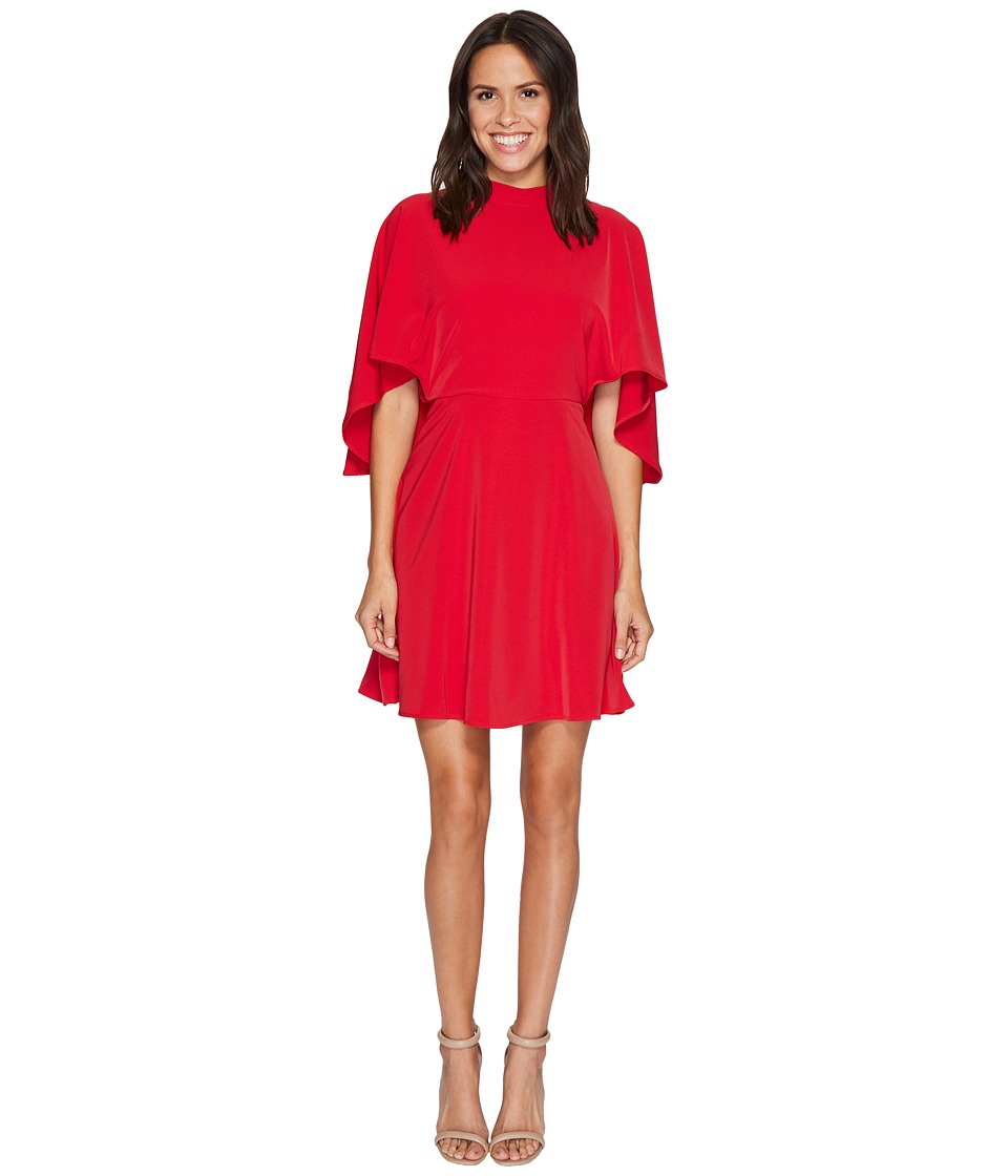 Maggy London - Cold Shoulder Crepe Fit and Flare (Indian Red) Women's Dress