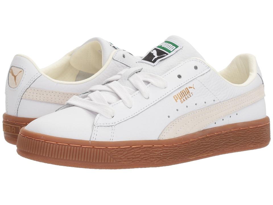 Puma Kids Basket Classic Gum Deluxe (Big Kid) (Puma White/Puma White) Kids Shoes
