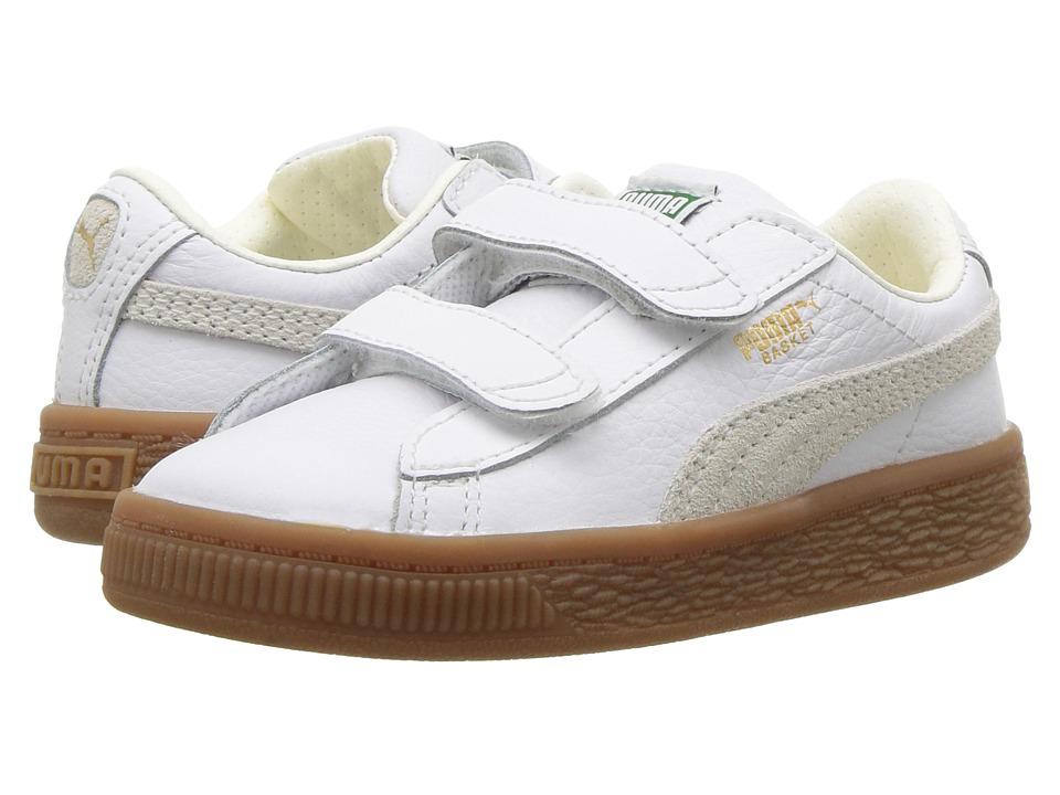 Puma Kids Basket Classic Gum Deluxe (Toddler) (Puma White/Puma White) Kids Shoes