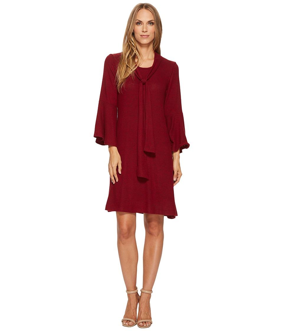 Nally & Millie Tie Front Neck Ruffle Sleeve Dress (Burgundy) Women