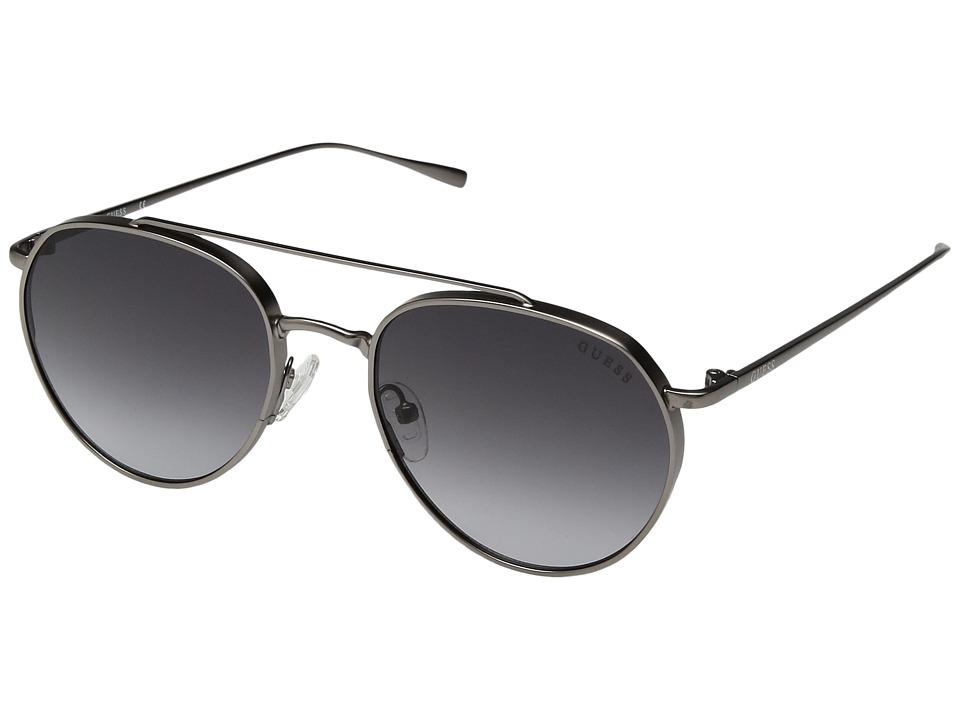 GUESS - GF5019 (Satin Gunmetal/Smoke Gradient Lens) Fashion Sunglasses