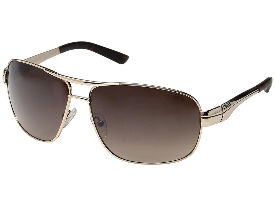 GUESS - GF5021 (Shiny Gold/Gradient Brown Flash Lens) Fashion Sunglasses