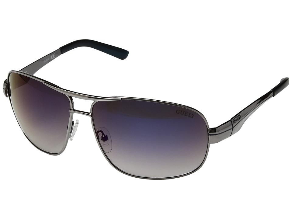 GUESS - GF5021 (Shiny Gunmetal/Blue Flash Lens) Fashion Sunglasses
