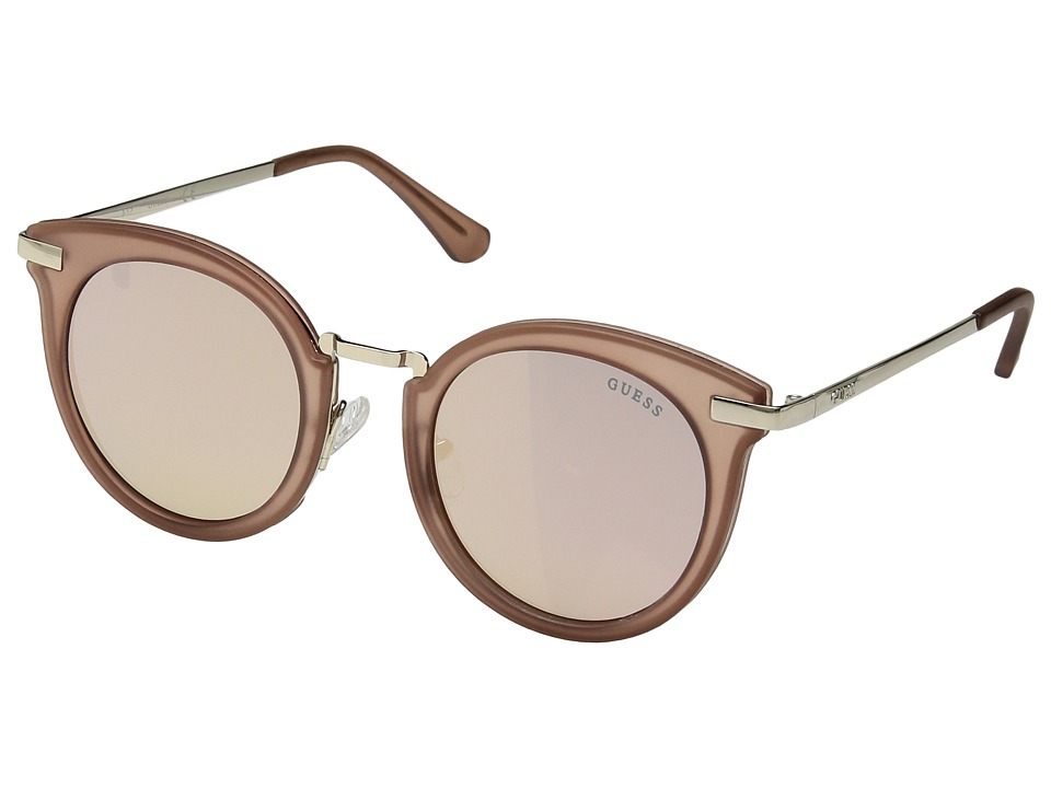 GUESS - GF6041 (Matte Crystal Light Brown/Rose Gold Mirror Lens) Fashion Sunglasses